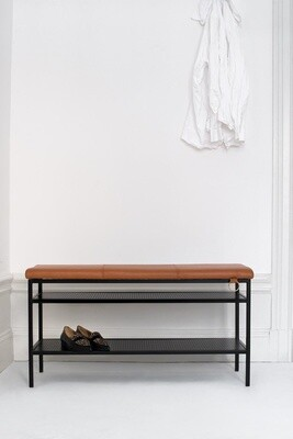 Labyrinth Designer Schuhregal / Bank Nancy 91,5x47,5x32 cm Stahl / Leder schwarz/cognac