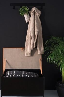 Labyrinth Designer Aufbewahrungsbank Frank 66x47.5x38 cm Stahl / Leder schwarz/cognac