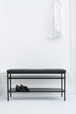 Labyrinth Designer Schuhregal / Bank Nancy 91,5x47,5x32 cm Stahl / Leder schwarz