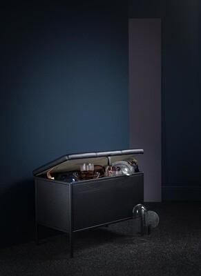 Labyrinth Designer Aufbewahrungsbank Frank 66x47.5x38 cm Stahl/Leder schwarz