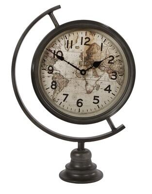Van Manen Uhr Globus 35 x 50 cm Stahl schwarz / creme