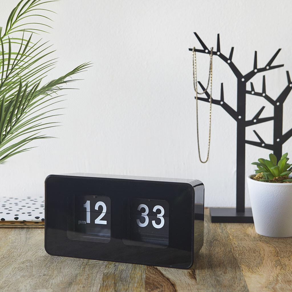 Balvi Tischuhr Flip Clock 9,35 x 17,6 cm ABS schwarz