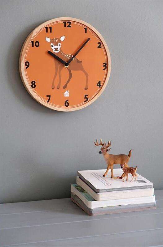 Zoo Wanduhr Rehkitz 25 x 3 cm Holz orange/weiss
