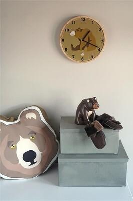 Zoo Wanduhr Bär 25 x 3 cm Holz braun/weiß