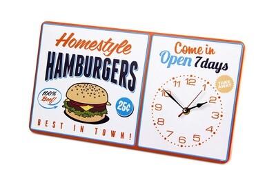 Balvi Wanduhr Homestyle Hamburger American Diner 40 x 22 cm Metall weiss