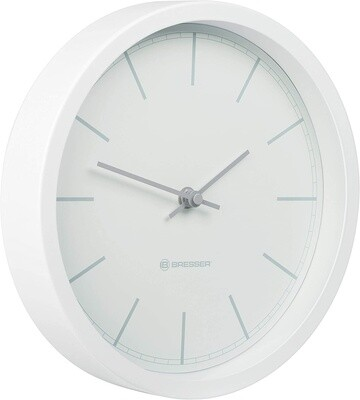 Bresser Funk Wanduhr MyTime DCF 25 cm Edelstahl weiß/grau