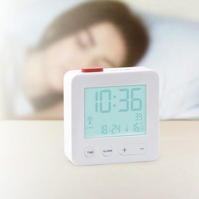 Balvi Wecker funkgesteuertes LCD-Display 7 cm weiß