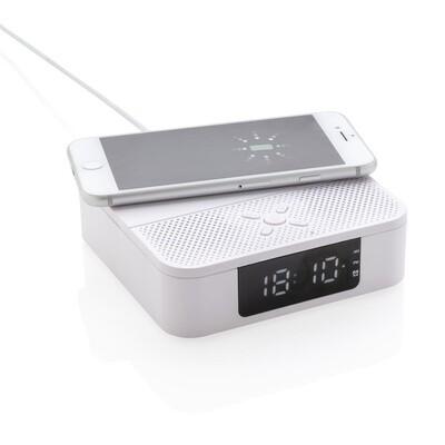 XD Collection 3-in-1-Lautsprecher / Uhr Bluetooth 12 cm weiss 2-teilig Ladestation