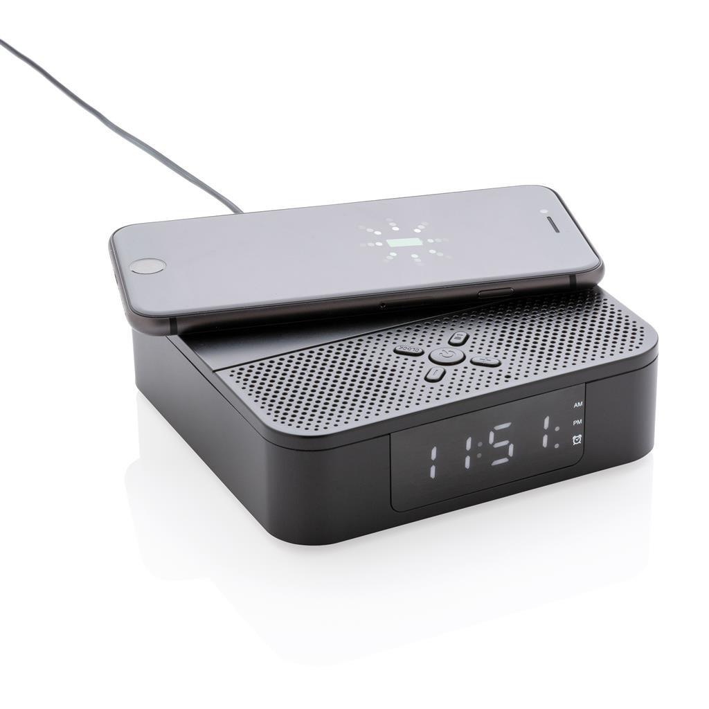 XD Collection 3-in-1-Lautsprecher / Uhr Bluetooth 12 cm schwarz 2-teilig Ladestation
