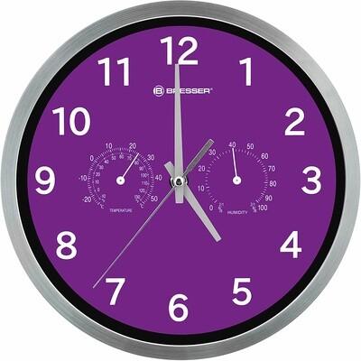 Bresser Funk Wanduhr MyTime 25 cm Edelstahl silber/violett