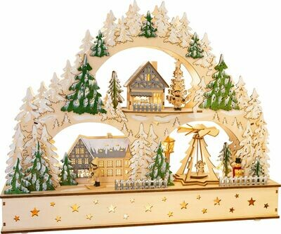 Small Foot Weihnachtsbogen Winter- Dorf aus Holz 50 cm