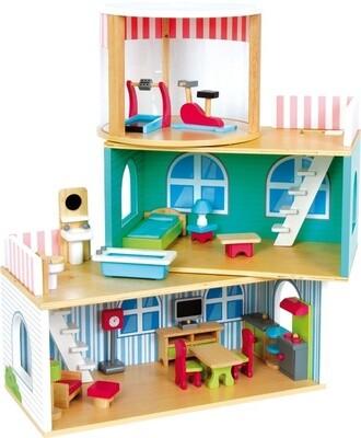 Small Foot Puppenhaus aus Holz komplett ausgestattet, 24-teilig