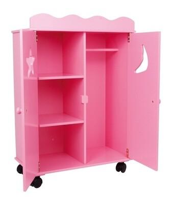 Small Foot Puppen- Kleiderschrank aus Holz, pink 46x25x66 cm