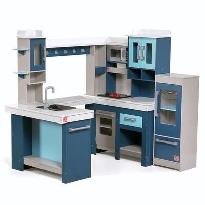 Step2 Kinderküche in U- Form, aus Holz 119 cm blau, 16-teilig
