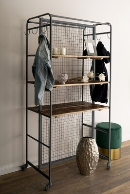Regal / Garderobe mit 6 Fächern, aus Metall und Holz, ca. 90*40*187cm h