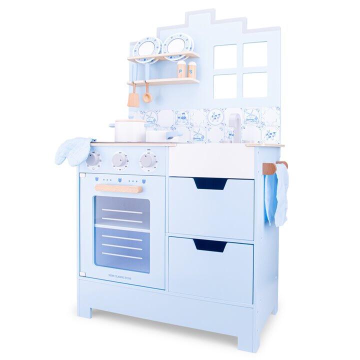 New Classic Toys Kinderküche aus Holz, 103,6 x 60 cm hellblau