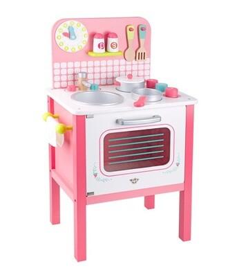 Tooky Toy Kinderküche aus Holz, 39,5 x 68 cm, rosa 10-teilig