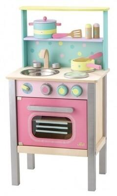Sevi Kinder-Küche aus Holz, 74 cm, rosa/mint