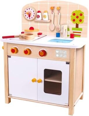 Tooky Toy Kinderküche aus Holz, 52 cm, natur/weiß