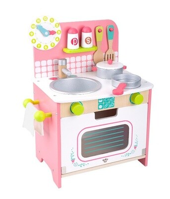 Tooky Toy Kinderküche aus Holz 34 x 43 cm, rosa 10-teilig