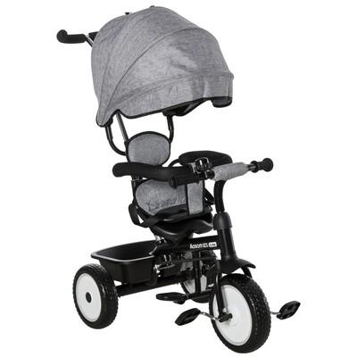 HOMCOM® 2 in 1 Kinder Dreirad Kinderdreirad Kinderwagen Schiebstange mit Dach Trike Grau