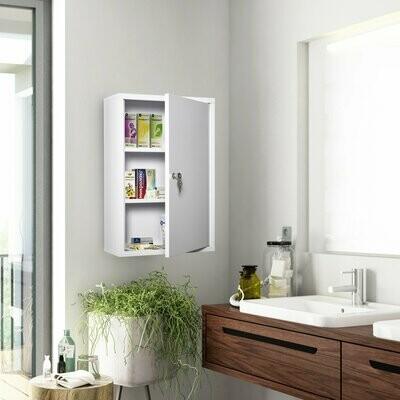 kleankin® Medizinschrank Arzneischrank Erste-Hilfe-Schrank mit Schloss 3 Fächer Stahl Weiss