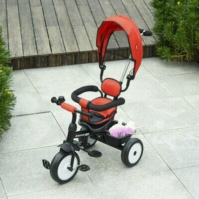 HOMCOM® 2 in 1 Kinder Dreirad Kinderdreirad Kinderwagen Schiebstange mit Dach Trike Rot