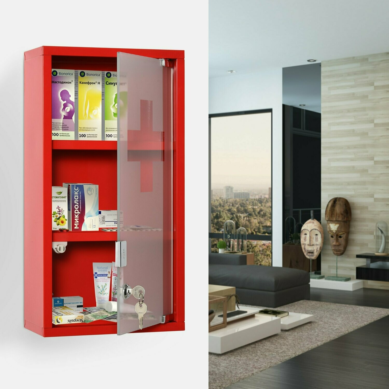 kleankin® Medizinschrank Arzneischrank Erste-Hilfe-Schrank mit Schloss 3 Fächer Stahl Rot