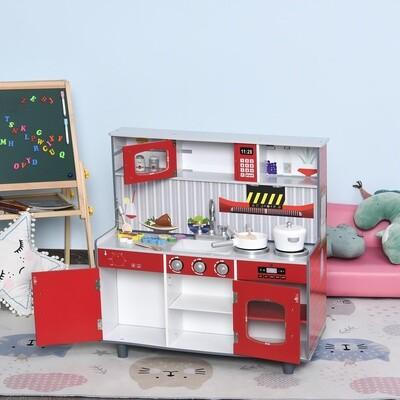 HOMCOM® Kinderküche und Kinder Feuerwehrhaus 2-in-1 Spielküche mit Zubehör 3+ Kiefer MDF