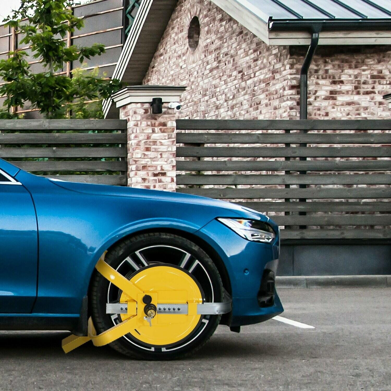 HOMCOM® Radkralle Parkkralle für Ø47-67cm Räder mit 2 Schlüsseln Schutzscheibe Gelb