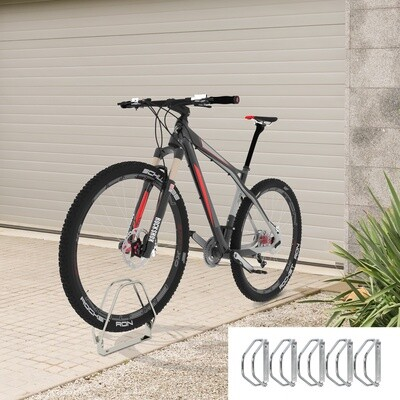 HOMCOM® Fahrradparker Fahrradständer Velo-Ständer Boden- und Wandmontage Stahl Silber 5 Fahrräder