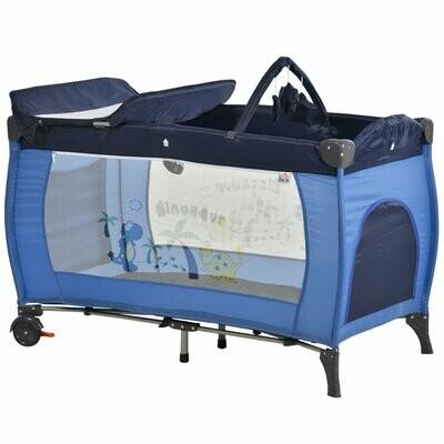 HOMCOM® Kinderreisebett klappbar Reisebettmatratze Klappbett Babybett mit Rollen Blau