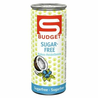 S-BUDGET Energy Drink sugarfree Kokos-Heidelbeere 24 x 250ml = 6 Liter