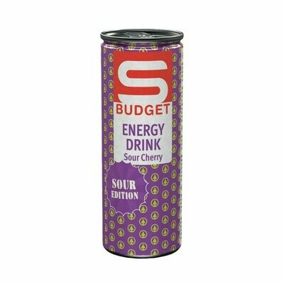 S-BUDGET Energy Drink Sour Cherry 24 x 250ml = 6 Liter