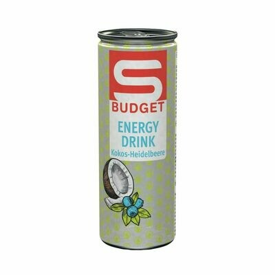 S-BUDGET Energy Drink Kokos-Heidelbeere 24 x 250ml = 6 Liter