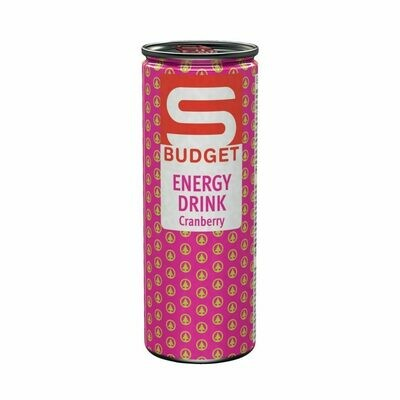 S-BUDGET Energy Drink Cranberry 24 x 250ml = 6 Liter