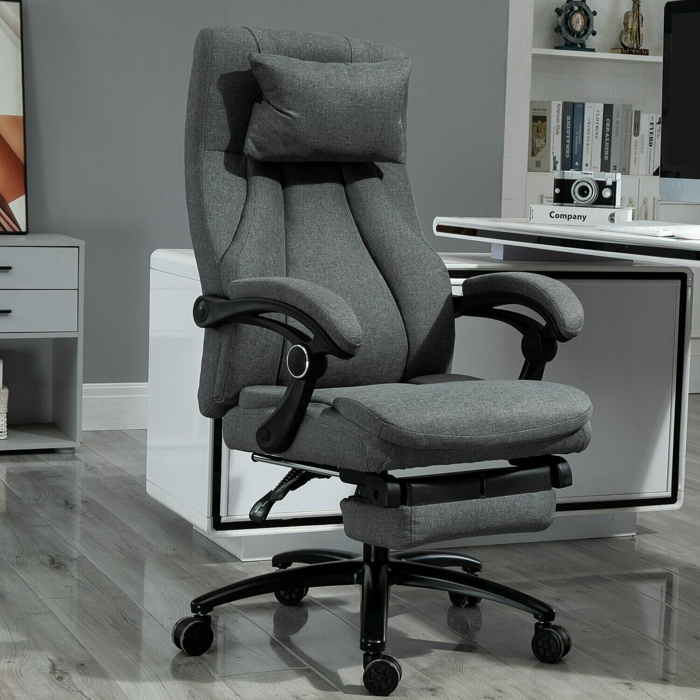 Vinsetto® Massagebürostuhl Drehstuhl mit Fussstütze höhenverstellbar Leinen-Gefühl Grau