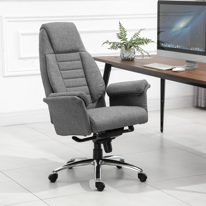 Vinsetto® Bürostuhl Drehstuhl Schreibtischstuhl Hellgrau Stoffbezug