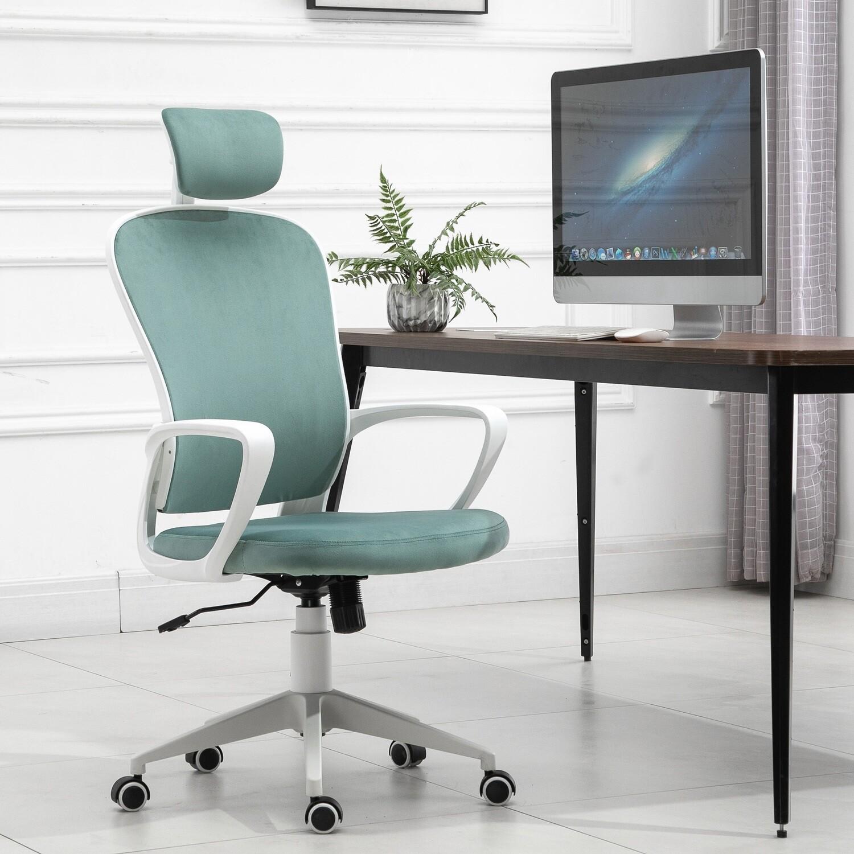 Vinsetto® Bürostuhl Ergonomischer Drehstuhl PC Stuhl höhenverstellbar Samt Türkis
