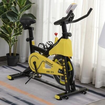 HOMCOM® Heimtrainer Fahrrad Spinning Rad Hometrainer Fahrrad Ergometer Gelb