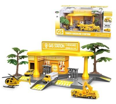 Luna Tankstelle mit Fahrzeugen, gelb, 7-teilig