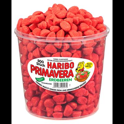 Restposten Haribo Primavera Erdbeeren 150 Stück - 1,05 kg Dose
