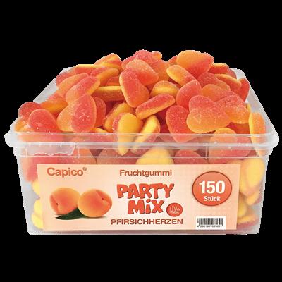 Grosspackung Tise HALAL Capico Fruchtgummi Pfirsich Herzen 150 Stück - 1 kg Dose