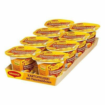Grosspackung Maggi 5 Minuten Terrine Kartoffelbrei mit Fleischklößchen 46 g, 8er Pack = 0,368 kg