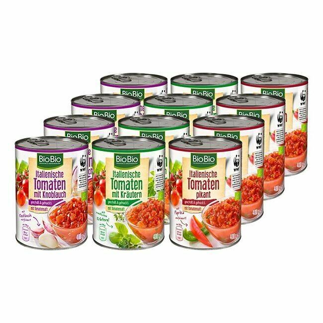 Grosspackung BioBio Sugo / Tomaten gewürzt 400 g, verschiedene Sorten, 12er Pack