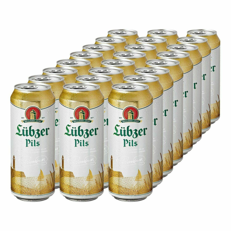 Grosspackung Luebzer Pils 4,9 % vol 0,5 Liter Dose, 24er Pack= 12 Liter - Import