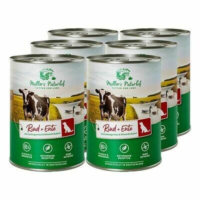 Grosspackung Müllers Naturhof Hundenahrung Rind & Ente 400 g, 6er Pack = 2,4 kg