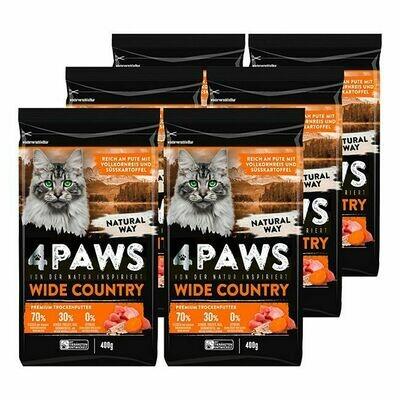 Grosspackung 4 PAWS Katzentrockennahrung Pute 400 g, 6er Pack = 2,4 kg