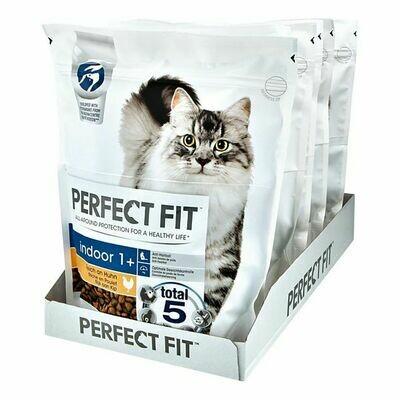 Grosspackung PERFECT FIT Katzenfutter Indoor 1+ Reich an Huhn 750 g, 6er Pack = 4,5 kg