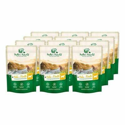 Grosspackung Müllers Naturhof Katzennahrung Huhn & Forelle 100 g, 12er Pack = 1,2 kg
